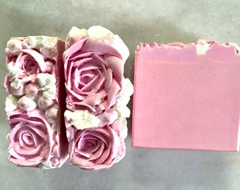 Soap Pink Roses Artisan Soap, Cold Process Soap, Handcrafted Soap