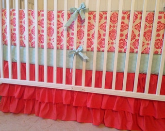 Crib Bedding Set Coral Damask and Mint Green Ready to Ship