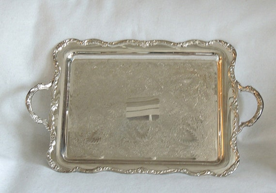 Vintage Large International Silver Silverplate Tray.. Chased, Scalloped Floral Edge
