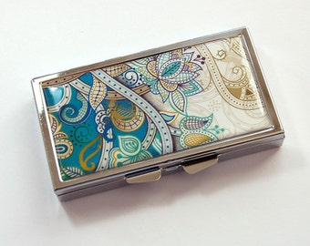 Pill case, Teal Paisley pill case, 7 sections, 7 day,  Pill Box, Paisley case, Gift for her, pill case for her, Teal, Kellys Magnets (3822)