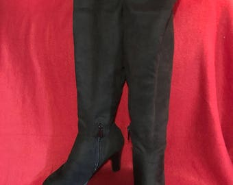 Vintage black suede over the knee boots.  NWOT