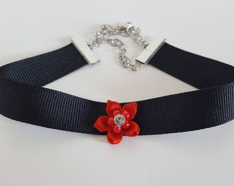 Black and Red Flower Ribbon Choker // Gifts for her // Black ribbon choker // Goth choker // Best Selling // Lolita Choker // Kawaii