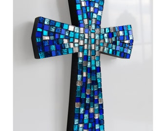 Shaded blue wall cross, mosaic glass blue cross, art L /700/A/9