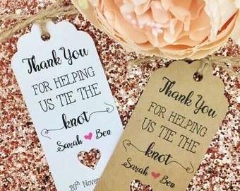 Wedding/  Bridal Shower Favours Thank You Gift Tags, Bridesmaid, Guest Label Kraft