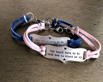 Alice in wonderland suede lace bracelet