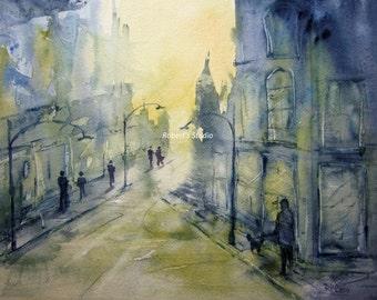 Street Scene, Print of Original Watercolor Painting Watercolor Cityscape Watercolor Art Landscape Painting City Scene City Street