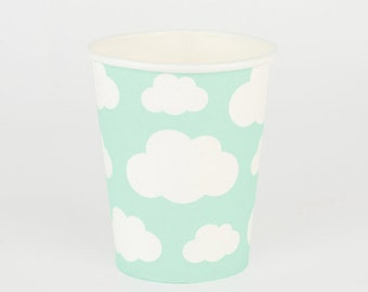 Clouds Paper Cups Pack Of 8 - Birthday Party Baby Shower