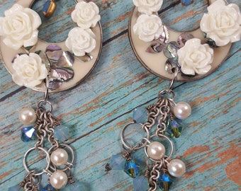 Shabby lovely over the top romantic assemblage earrings