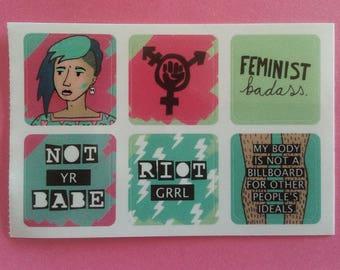 Riot Grrl Set of 6 Mini Stickers 'NOT YR BABE'