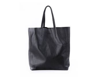 Black Leather tote, Leather tote bag, Leather bag, Black tote, Women tote, Woman tote, City bag, Woman bag, Designer tote, Designer bag, Bag