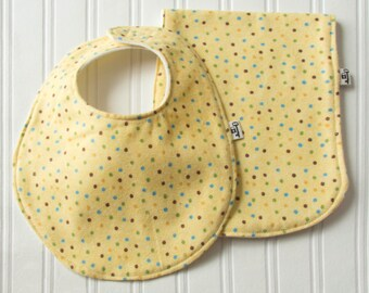 """Bib & Burp Cloth Set, Flannel and Fleece , """"Get Spotted"""", Yellow Polka-Dot with Ivory Backing, Baby Girl, Baby Gift, Baby Shower, Polka dot"""