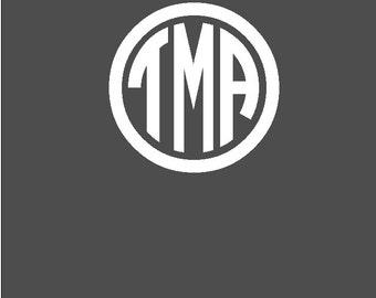"Personalized 5"" Monogram Vinyl Car Decal - Initials in Circle Monogram"
