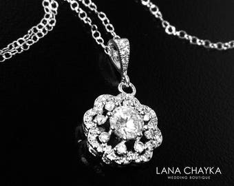 Cubic Zirconia Bridal Necklace, Crystal Silver Necklace, Wedding CZ Floral Charm Necklace, Bridal CZ Jewelry, Clear Cubic Zirconia Pendant