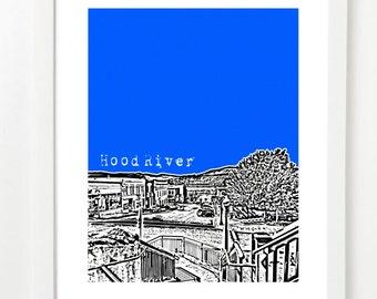 Hood River Skyline Poster - Hood River City Skyline Art Print - Hood River Oregon -