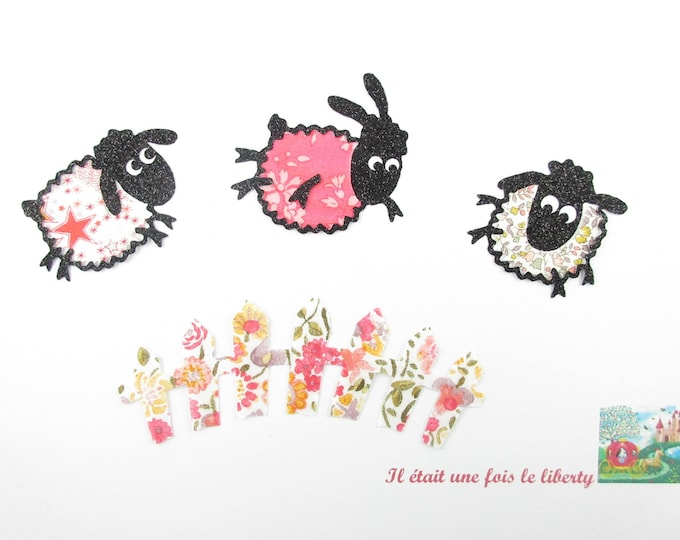 "Applied fusible sheep ""a sheep, two sheep, three sheep..."" coral liberty and flex glitter patch iron sheep pattern"