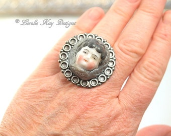 Doll Face Ring Doll Head Ring Fine Silver Plated Lorelie Kay Designs Doll Jewelry