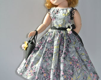"Vintage Inspired Day Dress SLip Hat And Purse For 19""to 20"" MA Cissy Doll Miss Revlon And Friends"