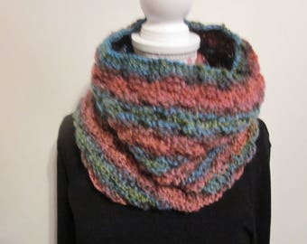 Multicolor knitted ears mouth neck warmer/cowl/wrap/scarf