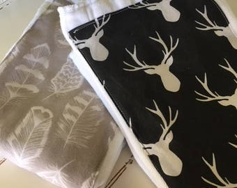 Diaper Burp Cloths Woodland Baby Deer Feathers Buck Gender Neutral Two Diaper Burp Cloths Nursery Baby Gift Shower Gift black taupe