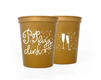 Gold with White Cups - Pop Fizz Clink Party Cups - NYE Party Cups - New Years Eve Party Cups