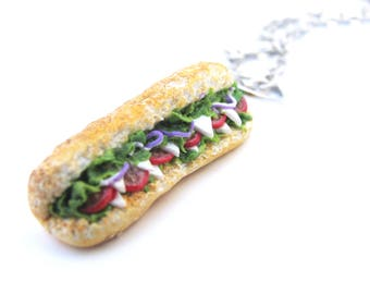Sub Necklace - Miniature Food - Food Jewelry - Sandwich Necklace - Mini food - Hero Necklace - Hoagie Necklace - Subway Sandwich - Sandwich