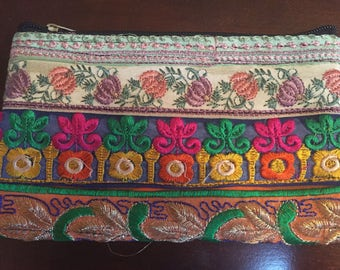 Flower Power Hand Embroidered Zipper Pouch