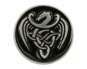 2 Celtic Dragon 13/16 inch ( 21 mm ) Pewter Buttons Black Background