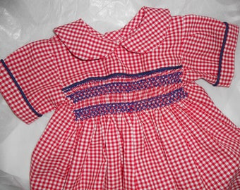 Size 12 Months, Hand Smocked Red Gingham Boy Bubble