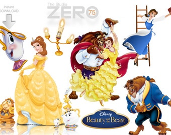 75 Beauty N Beast Digital Clipart, 300DPI PNG Images, Instant Download, Printable Iron On Transfer or Use as Clip Art - Belle Clipart
