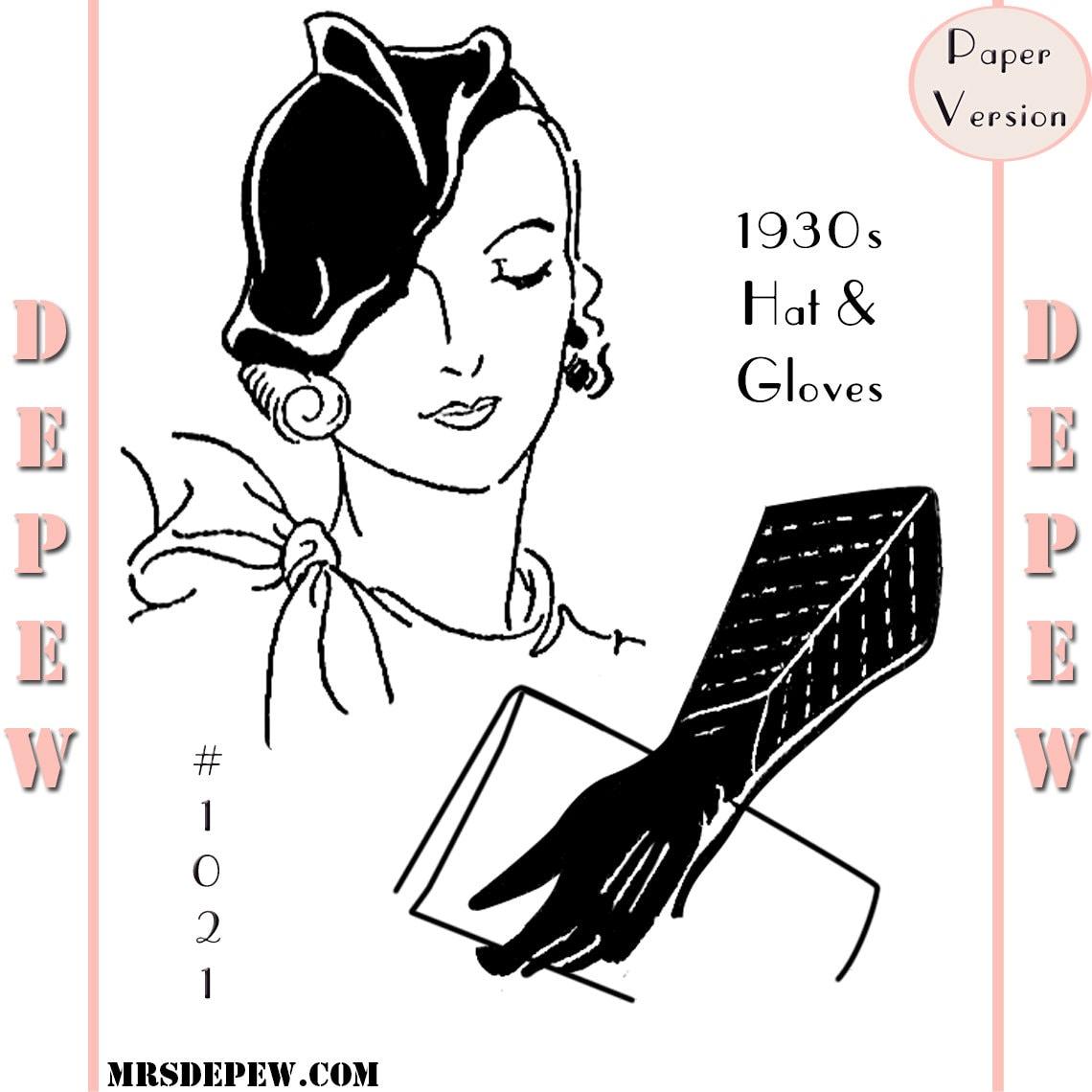 Vintage Nähen Muster der 1930er Jahre Damen Mütze & Handschuhe