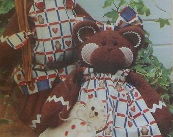 """Teddy Bear and Clothing Sewing Pattern UNCUT 18"""" bears GINGERBEARS"""