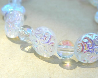 Beaded Bracelet, Pretty Jewelry, Opalescent Bubbles, Plus Size Stretch Bracelet, Unique Glass Beads, Swirl, Sparkle, Gift for Her
