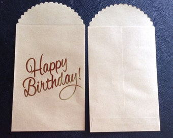 """Set of 12 Kraft Paper Bags with """"Happy Birthday"""" in Gold Foil, Favor Bags, Treat Bags, Candy Bags, Gift Bags, Party Ideas, Recollections"""