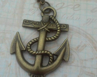 Men's bronze anchor necklace, anchor pendant necklace, fathers day gift, nautical jewelry
