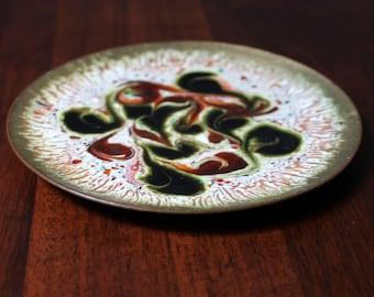Midcentury abstract enamel dish.