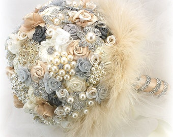 Brooch Bouquet Wedding Champagne Charcoal Gray Ivory Bridal Wedding Flowers Vintage Gatsby Style