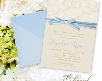 Blue First Holy Communion Invitation - Calligraphy Personalized Custom Blue Ribbon Blue Velvet Cream Lace Creme Lace Printable Party Invite
