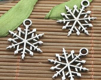 40pcs dark silver tone snowflake charms h3232