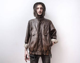 B70 Biker Jacket 60s Moto Motorcycle Jacket Brown Aged Leather Coat Veste en Cuir Motard The Penduline Spring Jacket Outerwear