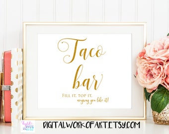 Gold Taco Bar Sign, Fiesta Bridal Shower Party Decor Table Sign Printable, Fiesta Wedding Reception PDF Printable, Instant Download, #SG
