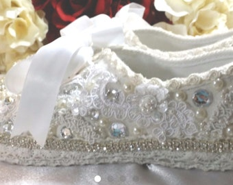 Wedding Bridal Tennies Sneakers Tennis Ivory White Shoes Flats Destination Beach Swarovski Crystals & Pearls Custom Made  Now On SALE!