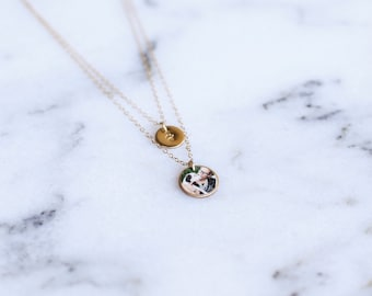 Layered Chain Photo Charm Necklace, Gold Filled & Sterling Silver