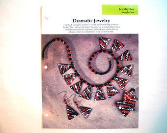 DRAMATIC JEWELRY Instruction Pattern Sheet DIY Statement Necklace Earrings Pin Tutorial Childrens Craft Beads Kids Make It Gift for Mom