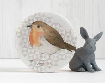 Bird pocket mirror - robin mirror - Christmas robin - stocking filler - pocket mirror - Christmas mirror - watercolour bird