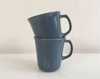 Vintage Pyrex Mug Light Blue Sky Yellow Corning Ware Coffee Cup Dining Ware