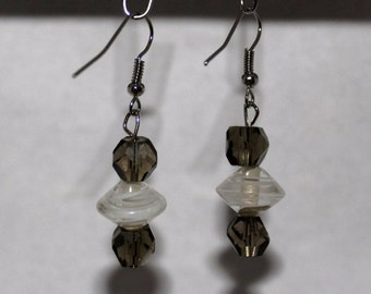 Smoky Glass Bead With Clear / White Swirl Dangle Earring