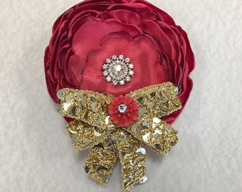 Beautiful handmade Red and Gold color flower hair clip