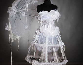 Custom Size white victorian zombie ghost burlesque corset costume dress with top hat and umbrella S-XL