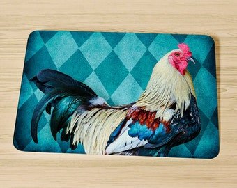 Rooster Glass Cutting Board,  Rooster Kitchen Decor, Dishwasher Safe