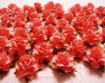 Coral paper flowers etsy 10 paper flowers size 1 mulberry paper craft flower paper flower craft wedding wedding bouquets and crafts coral paper roses mightylinksfo